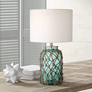 Crosby Nautical Accent Table Lamp Coastal Blue Green Glass Rope Net Off White Drum Shade for Living Room Family Bedroom - ...