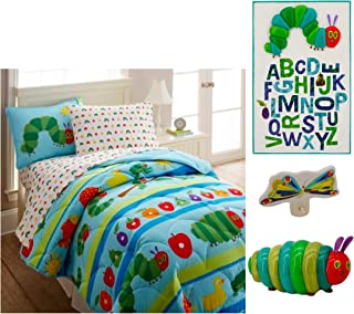 Eric Carle The Very Hungry Caterpillar Bedroom Bundle - Comforter, 2 Shams, Light, Nightlight & Plaque