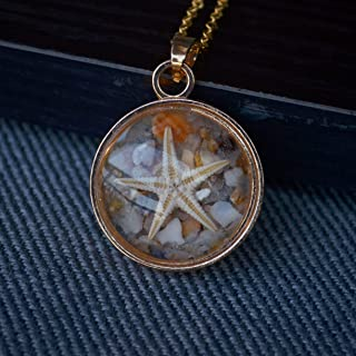 Natural Starfish Shell Sea Sand Beach Glow in the Dark Pendant 18k Gold Plated Long Chain Necklace