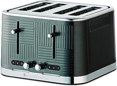 Russell Hobbs Geo Toaster Stainless Steel 4 Slice Toaster, Black, RHT404BLK