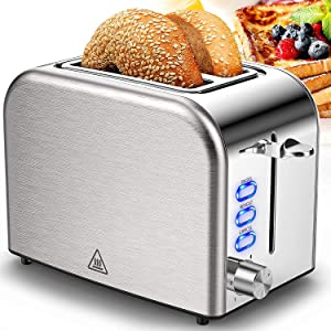 Toaster 2 Slice Stainless Steel 2 Slice Best Rated Prime Wide Slot with 6 Bread Shade Settings, Bagel, Reheat, Cancel Function, Removable Crumb Tray