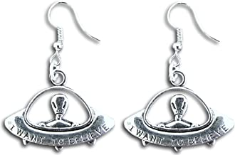 Pashal UFO I Want to Believe Spaceship Alien Planet Dangle Earrings