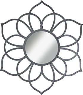 Kate and Laurel Brienne Metal Flower Round Wall Mirror, 24