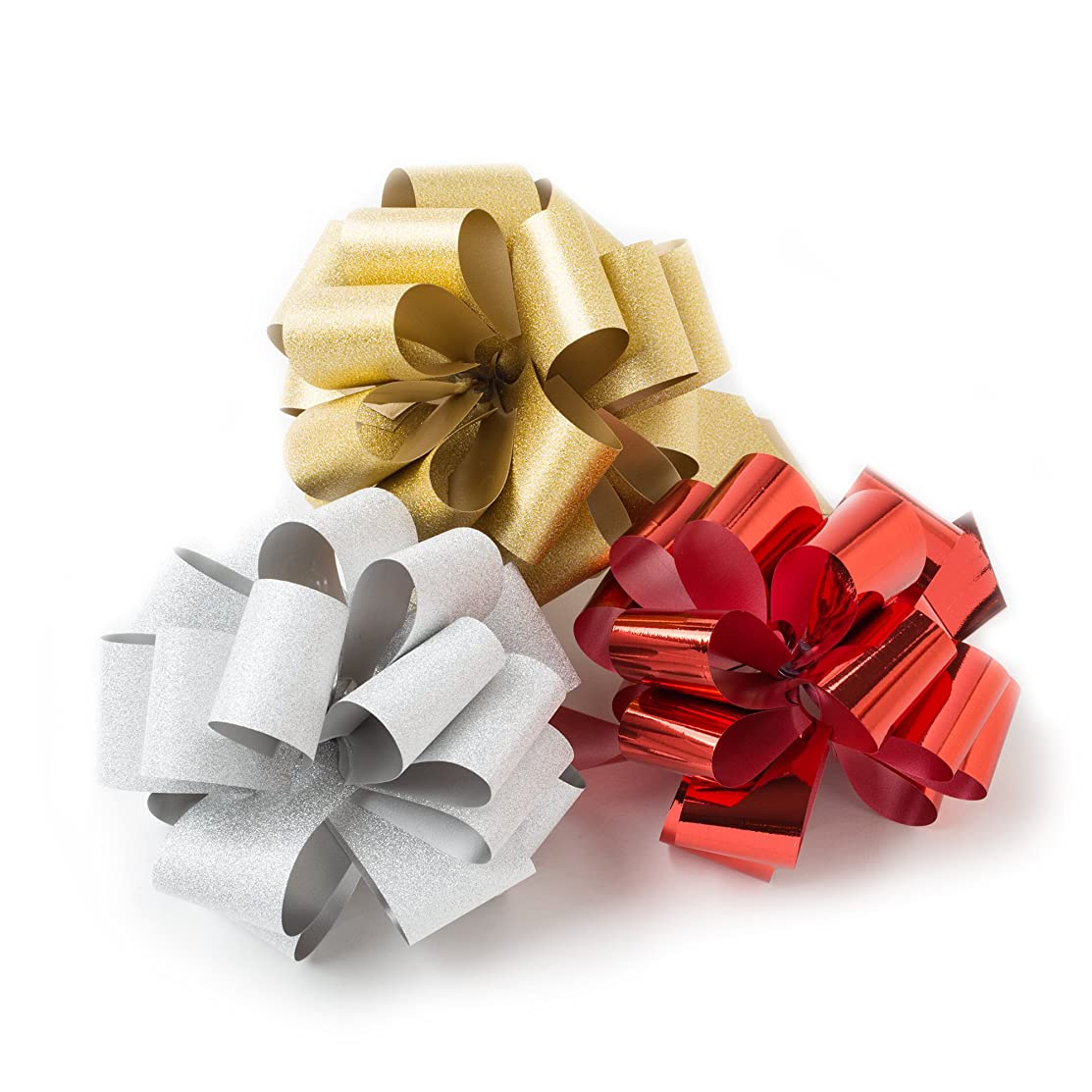 Hallmark Signature Holiday Assorted Bow Bundle, Red, Silver, Gold (3 small pull bows)