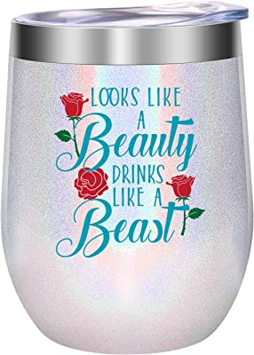 Funny Mothers Day Gifts for Wife, Mom, Daughters - Looks like a Beauty Drinks like a Beast - Friendship, Birthday Gifts for Women, Sister, Best Friends, Girlfriend, Coworker, Her - LEADO Wine Tumbler