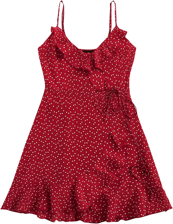SheIn Women's Summer Sleeveless Ruffle Self Tie Wrap Short Dress