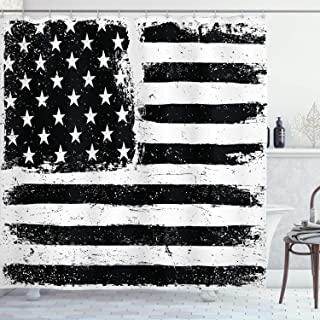 Ambesonne United States Shower Curtain, Grunge Aged Black and White American Flag Independence Fourth of July Design, Cloth Fabric Bathroom Decor Set with Hooks, 70