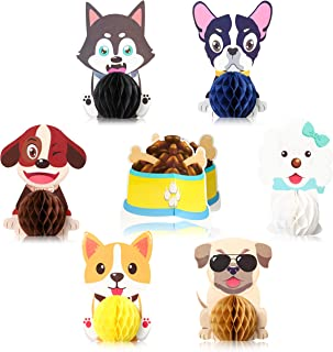 4 Dog Party Centerpieces for Paw Party Supplies Dogs Theme Pom Paper Flowers Birthday Table Decorations