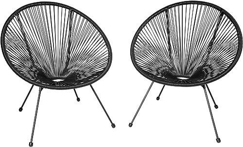TecTake 800729 2 Fauteuils Acapulco de Jardin de Salon Design rétro, pour Un Usage en intérieur et extérieur - Plusie...
