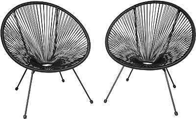 TecTake 800729 2 Fauteuils Acapulco de Jardin de Salon Design rétro, pour Un Usage en intérieur et extérieur - Plusieurs Couleurs - (Noir   no. 403302)