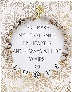 BONALUNA My Wish Love Mantra 6mm Beige Color Stone Meditation & Healing Bracelets for Women