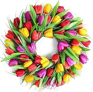 LASPERAL Tulip Wreath Flower Wreaths for Front Door 13.5