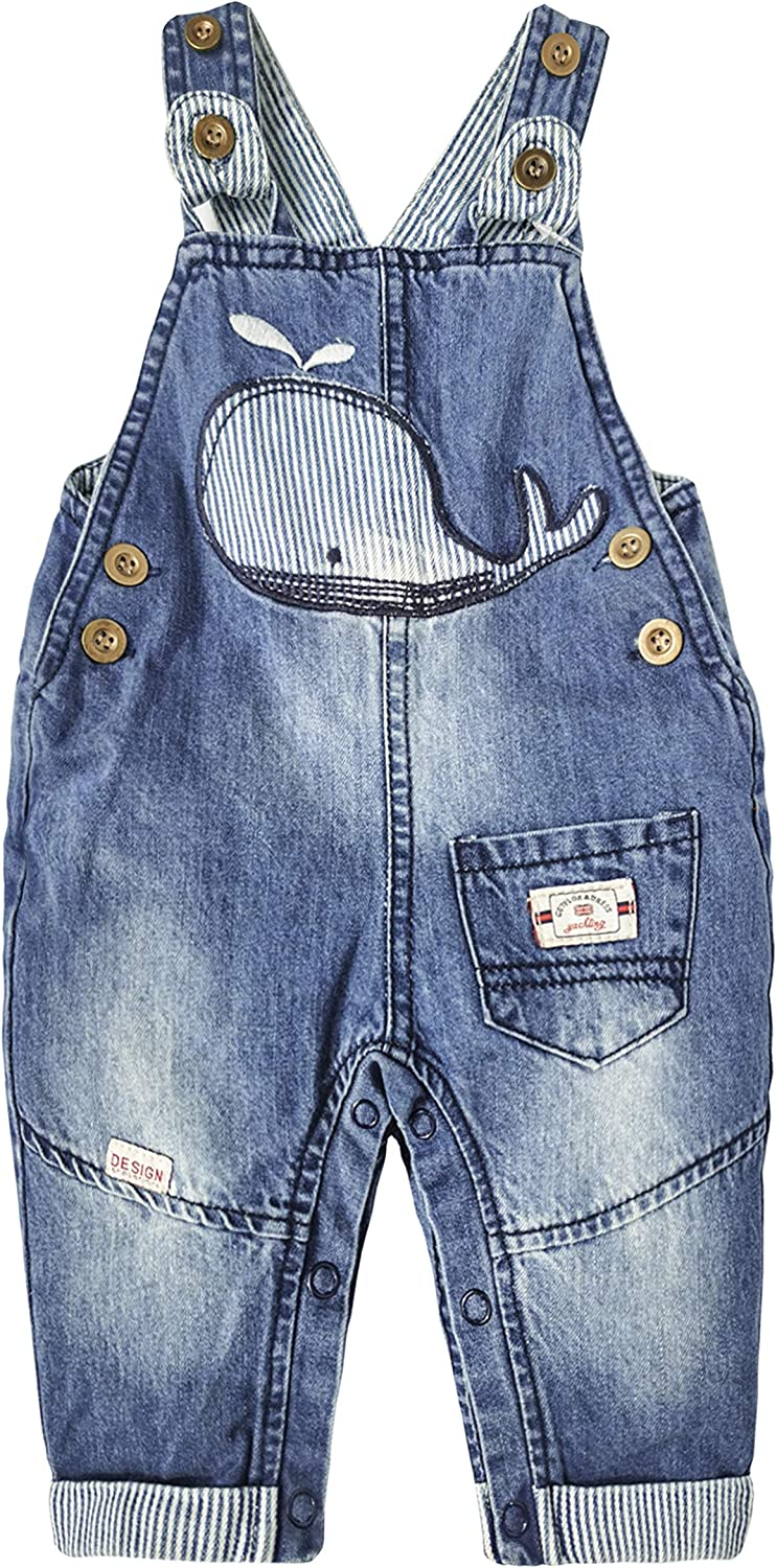 Kidscool Space Baby Cute Denim Overalls,Little Kids Embroidered Fashion Jean Pants