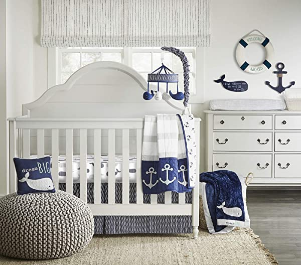 Wendy Bellissimo 4pc Nursery Bedding Baby Crib Bedding Set Whale Crib Bedding From The Landon Collection In Navy And Grey