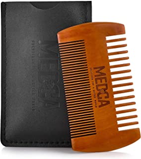 Wooden Beard Comb With Leather Case - Handcrafted Solid Beechwood Beard, Mustache and Head Hair Pocket Combs for Men Dual Action Fine & Coarse Teeth Perfect for Conditioner Oils and Beard Balms