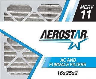 Aerostar 16x25x2 MERV 11, Pleated Air Filter, 16x25x2, Box of 6, Made in The USA