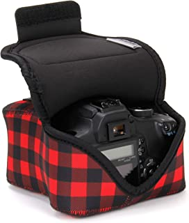 USA GEAR DSLR Camera Sleeve (Red Plaid) with Neoprene Protection, Holster Belt Loop and Accessory Storage - Compatible with Nikon D3400, Canon EOS Rebel SL2, Pentax K-70 and More