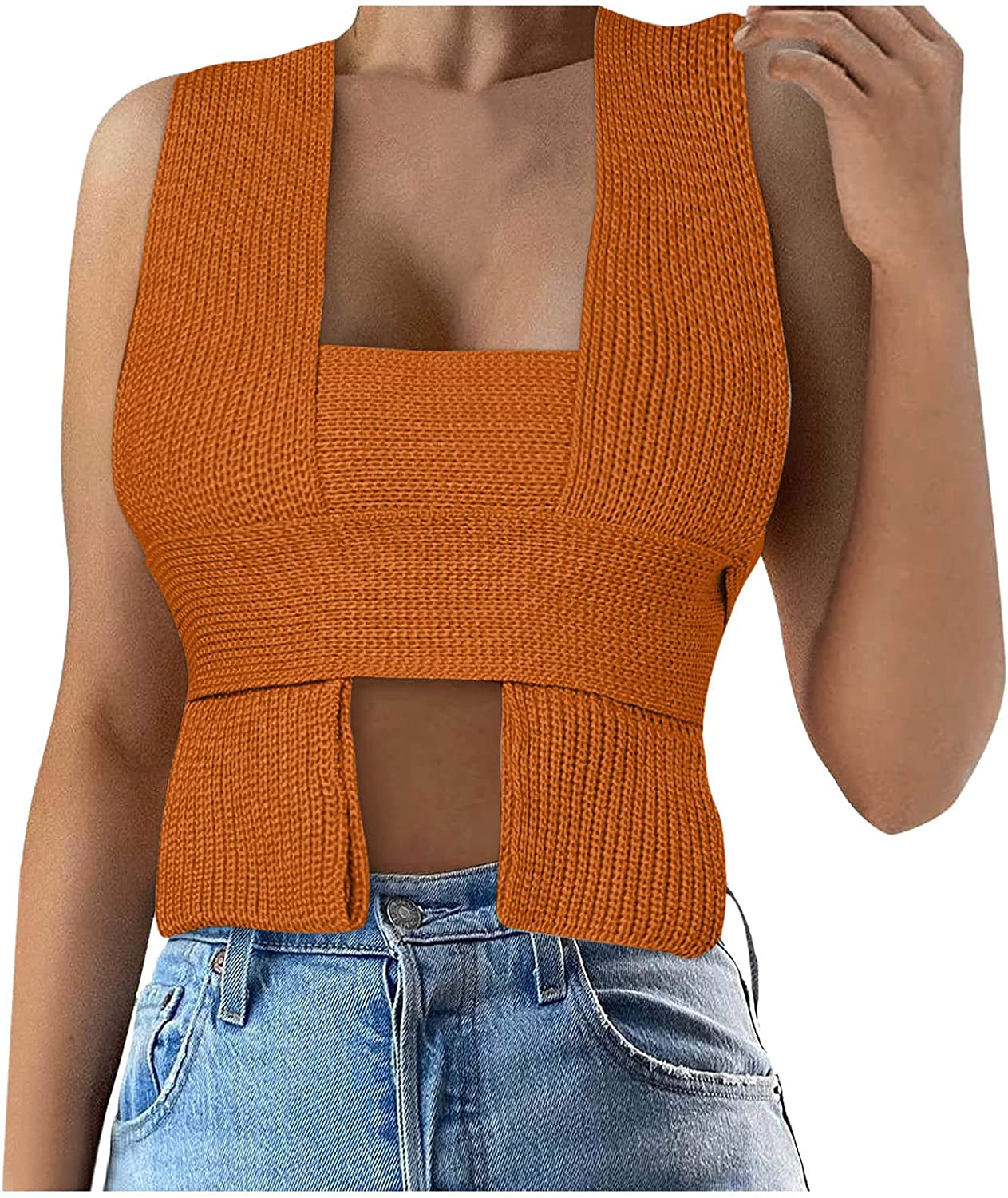 Women's Irregular Crop Sweater Top Sleeveless Tie Strappy Backless Knitted V Neck Casual Jumper Crop Tank Cami Vest Top
