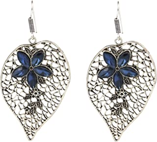 Blue Crystals Silver Plated Leaf Drop Indian Earrings Jewelry for Girls and Women