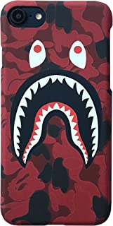 Red Camo Shark Mouth Eyes Shark Head Protective Skin Hard Phone Case for iPhone 6 6s 6plus 7 8 Plus X (for iPhone 7p/8p)