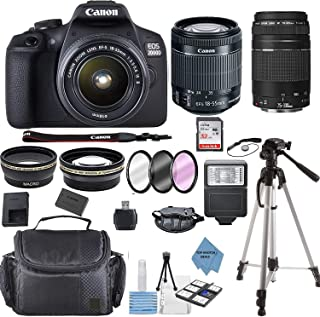 Canon EOS 2000D Rebel T7 Kit with EF-S 18-55mm f/3.5-5.6 III Lens + Canon 75-300 Lens+ Accessory Bundle +TopKnotch Deals C...