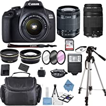 $494 » Canon EOS 2000D Rebel T7 Kit with EF-S 18-55mm f/3.5-5.6 III Lens + Canon 75-300 Lens+ Accessory Bundle +TopKnotch Deals Cloth