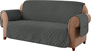 Ouka Reversible Sofa Slipcover, Fabric 1-Piece Furniture Protector with Elastic Straps,Non-Slip Sofa Cover for Pets and Ki...