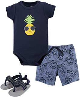 Unisex Baby Cotton Bodysuit, Shorts and Shoe Set