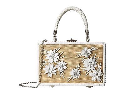 Patricia Nash Wicker Lamezia Satchel (White/Leather Flowers) Satchel Handbags