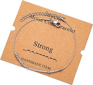 Sponsored Ad - JoycuFF Morse Code Bracelets for Women Gifts for Mom Daughter Sister Friend Adjustable Silk Beaded Wrap Bra...