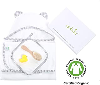Premium Organic Bamboo Hooded Towel Baby Bath Set by gobán | Ultra Soft Hooded Towel Baby Gift Set | Infant and Toddler | Boys and Girls | Includes Towel and Washcloth, Rubber Duck, Baby Brush