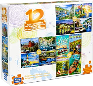12 Puzzles in 1 Box Family Puzzle Pack (Various Artists) Lighthouse, Ships, Boats, Sail Boats, Ocean, Sea Ports, Docks, Nautical