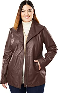 d8322c114ee Jessica London Women s Plus Size Wing Collar Leather Jacket