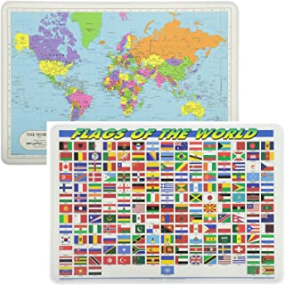 Painless Learning Educational Placemats World Map and World Flags Set Non Slip Washable