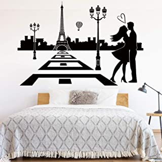 VODOE France Paris Wall Decals, Eiffel Tower Wall Decal,Love Quotes City Skyline Couple Romantic Balloon Stickers Suitable for Family Living Vinyl Art Home Decor(Black 30.7 X 20.8 inches)