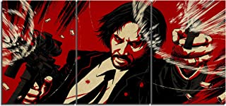 John Wick Keanu Reeves Canvas Posters Home Decor Wall Art Framework 3 Pieces Paintings for Living Room HD Prints Pictures D