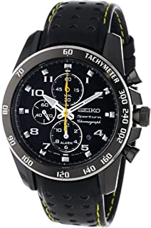 Sportura Black Dial Black Leather Band Mens Watch