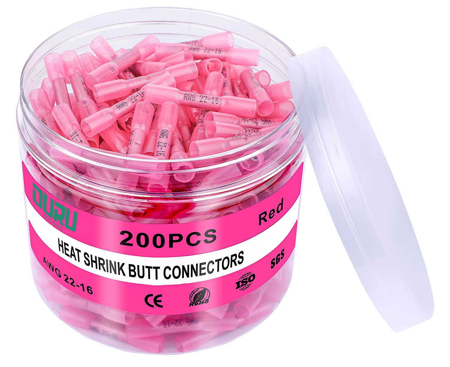 200Pcs Red Heat Shrink Butt Connectors OURU Marine Gra 22-16 Awg High quality new Manufacturer direct delivery