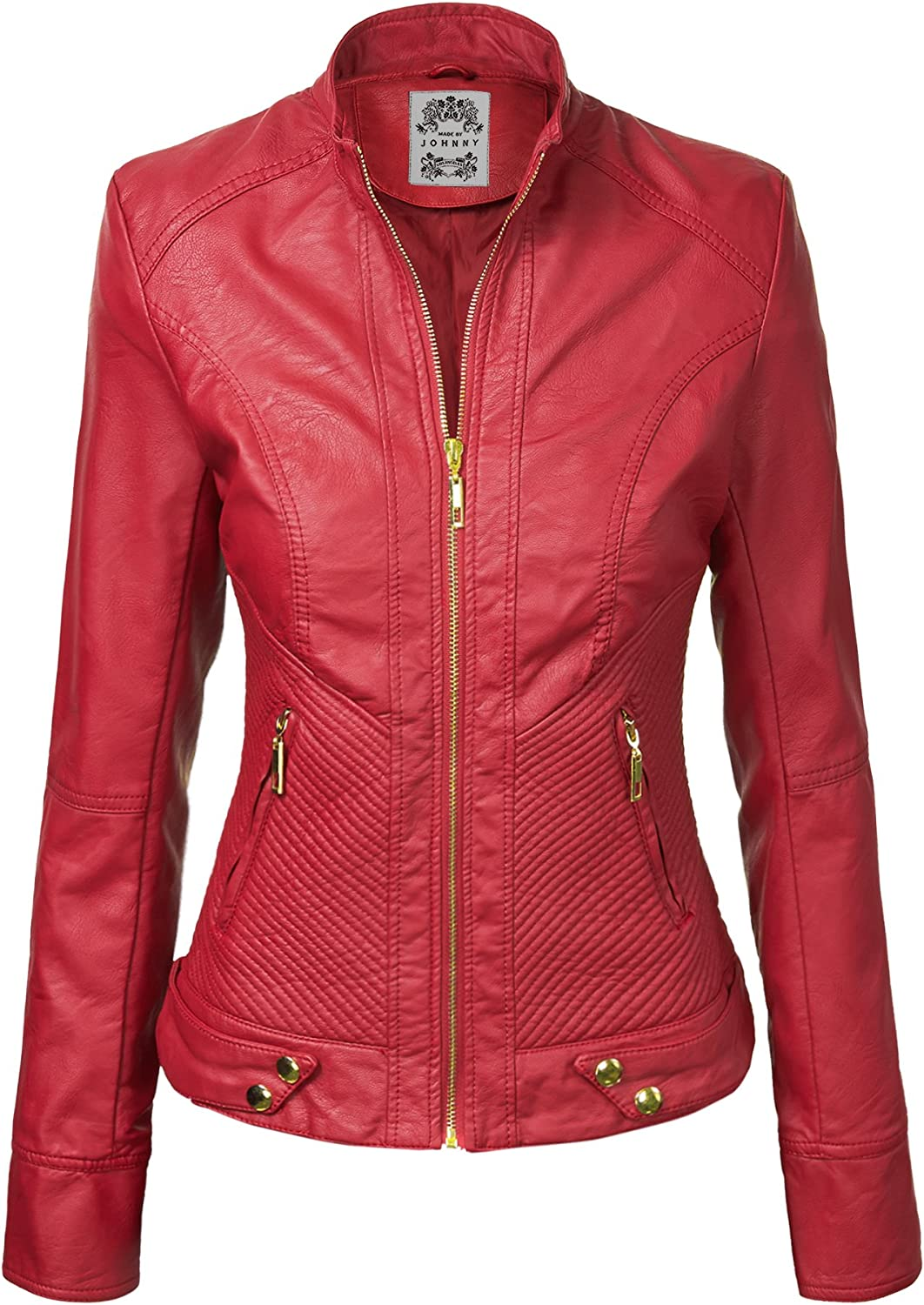 Made By Johnny Be super welcome MBJ Womens Faux Biker outlet Up Moto Leather Jacket Zip
