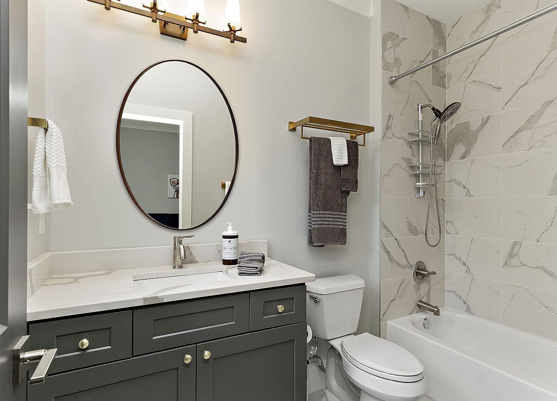 Buy Andy Star Bronze Bathroom Mirror 22x30 Brushed Bronze Oval Wall Mirror In Stainless Steel Metal Frame 1 Deep Set Design Hangs Horizontal Or Vertical Online In Indonesia B093pwqhn2