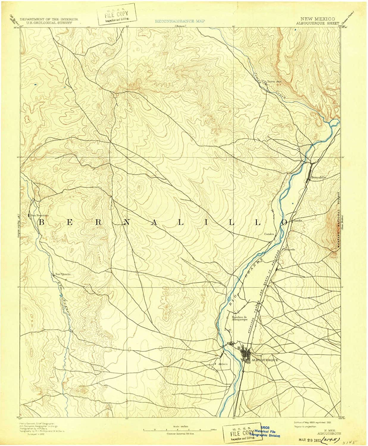 Albuquerque NM topo map, 1 125000 Scale, 30 X 30 Minute, Historical, 1893, Updated 1932, 20 x 16.5 in