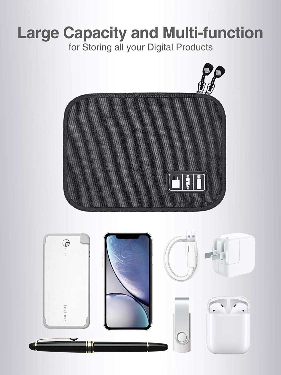 Portable Cord Organizer Compact Cable Organizer Cord Storage and Electronics Accessories Phone//USB//SD//Charger Organizer Black Travel Organizer Bag for Cable Storage Luxtude Electronic Organizer