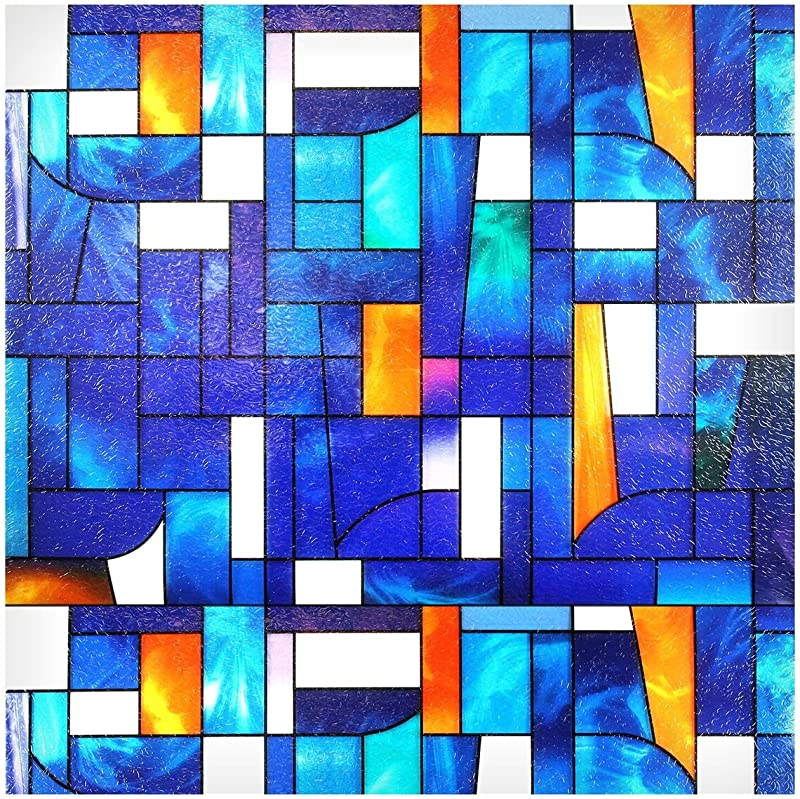 Buydecorativefilm BDF 3ABST2 Window Film Abstract Stained Glass 36 X 53 2 Continuous Patterns