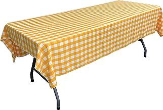 مفرش طاولة LA Linen مستطيل الشكل مقاس 152.4 سم × 274.4 سم، أصفر داكن وأبيض