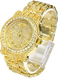 Techno Pave Totally Iced Out Pave Gold Tone Hip Hop Men's Bling Bling Watch