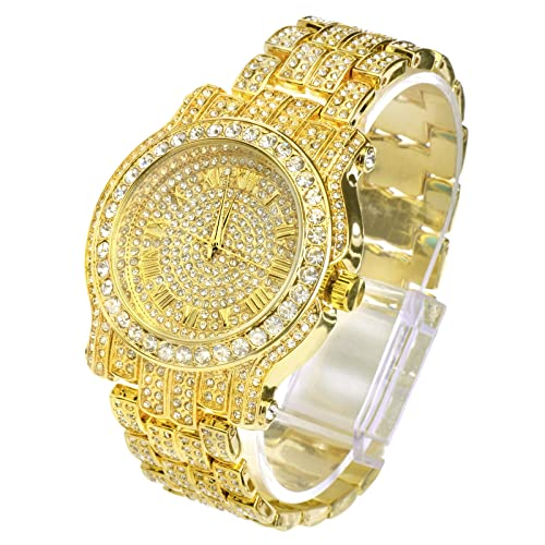 Techno Pave Totally Iced Out Pave Gold Tone Hip Hop Mens Bling Bling Watch