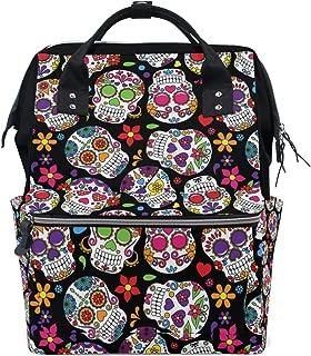 ALIREA Day Of The Dead Sugar Skull Diaper Bag Backpack, Large Capacity Muti-Function Travel Backpack