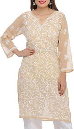 ADA Lucknow Chikan Hand Embroidered Regular Wear Faux Georgette Kurti A90352