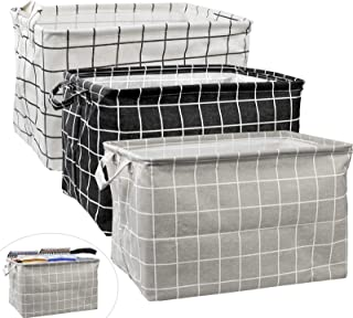 2Pcs Large Rectangular Canvas Storage Basket, Foldable Toy Organizer Bins with Handles, Waterproof Clothes Storage Box for...