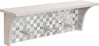 Mosaic Tile Design Off-White Wood Floating Organizer Display Rack Shelf w/ 3 Storage Coat Hooks
